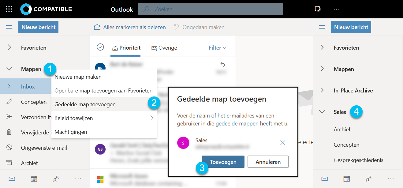 Office365 - Gedeelde map toevoegen Outlook Web App